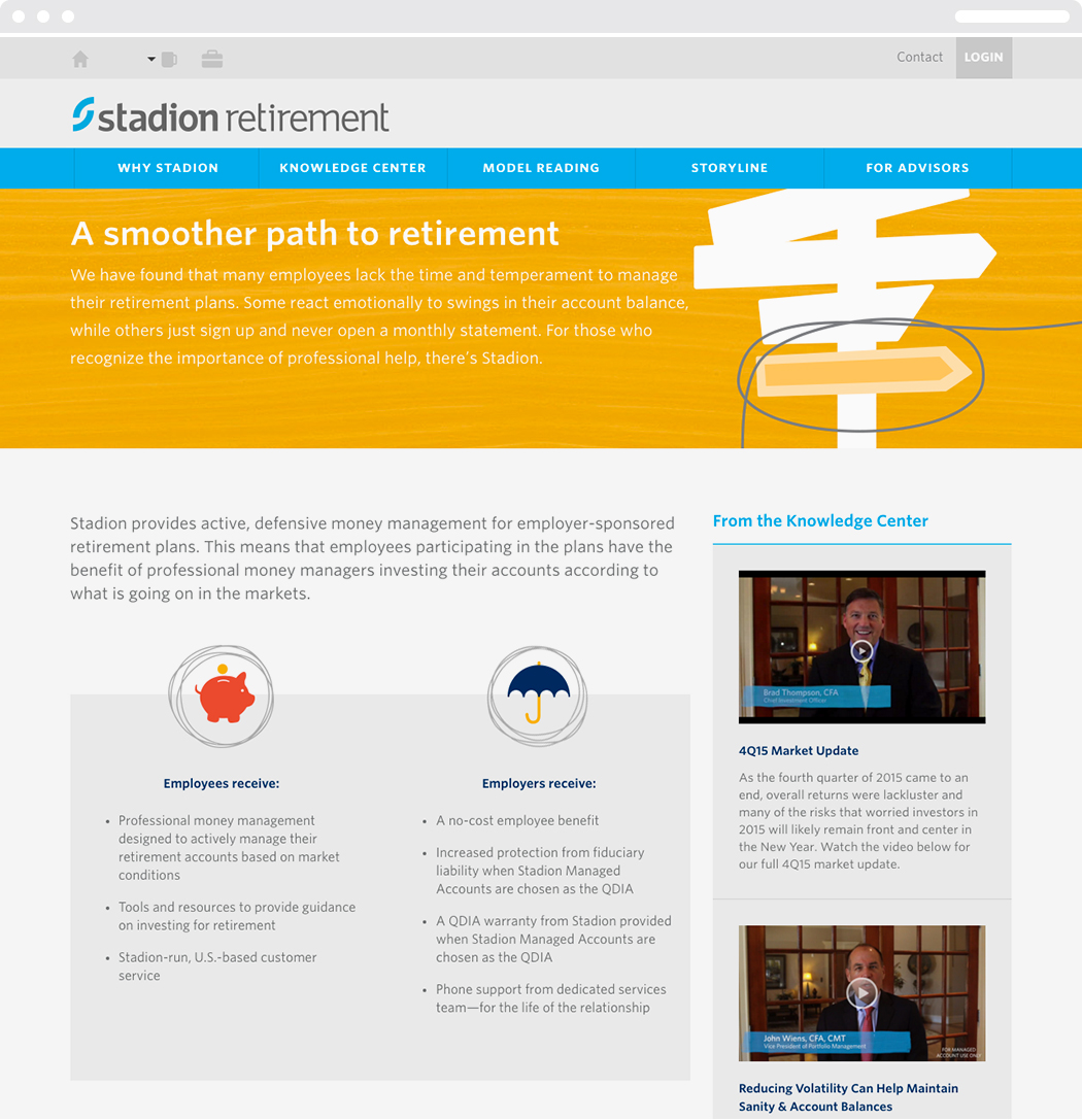 "The Stadion Retirement web homepage with the heading, ""A smoother path to retirement."""