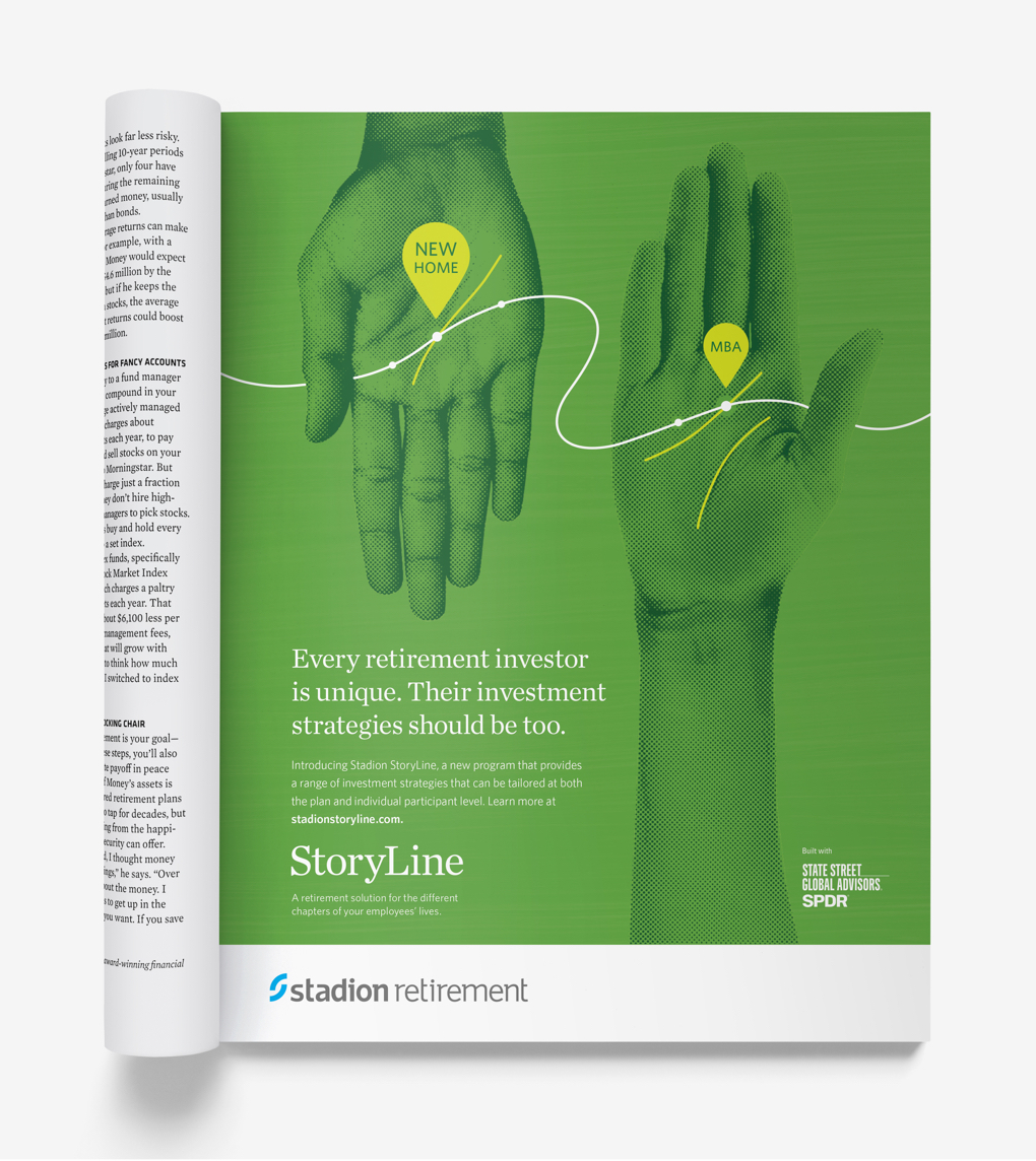 """Green magazine ad with illustrated hands reads """"Every retirement investor is unique…"""""""