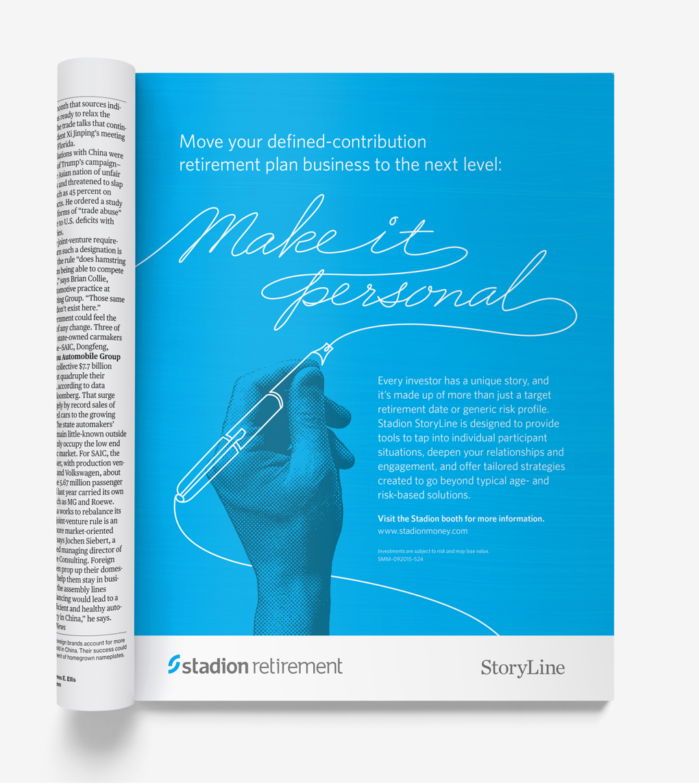 """Blue magazine ad with illustrated hand reads """"Make it personal."""""""