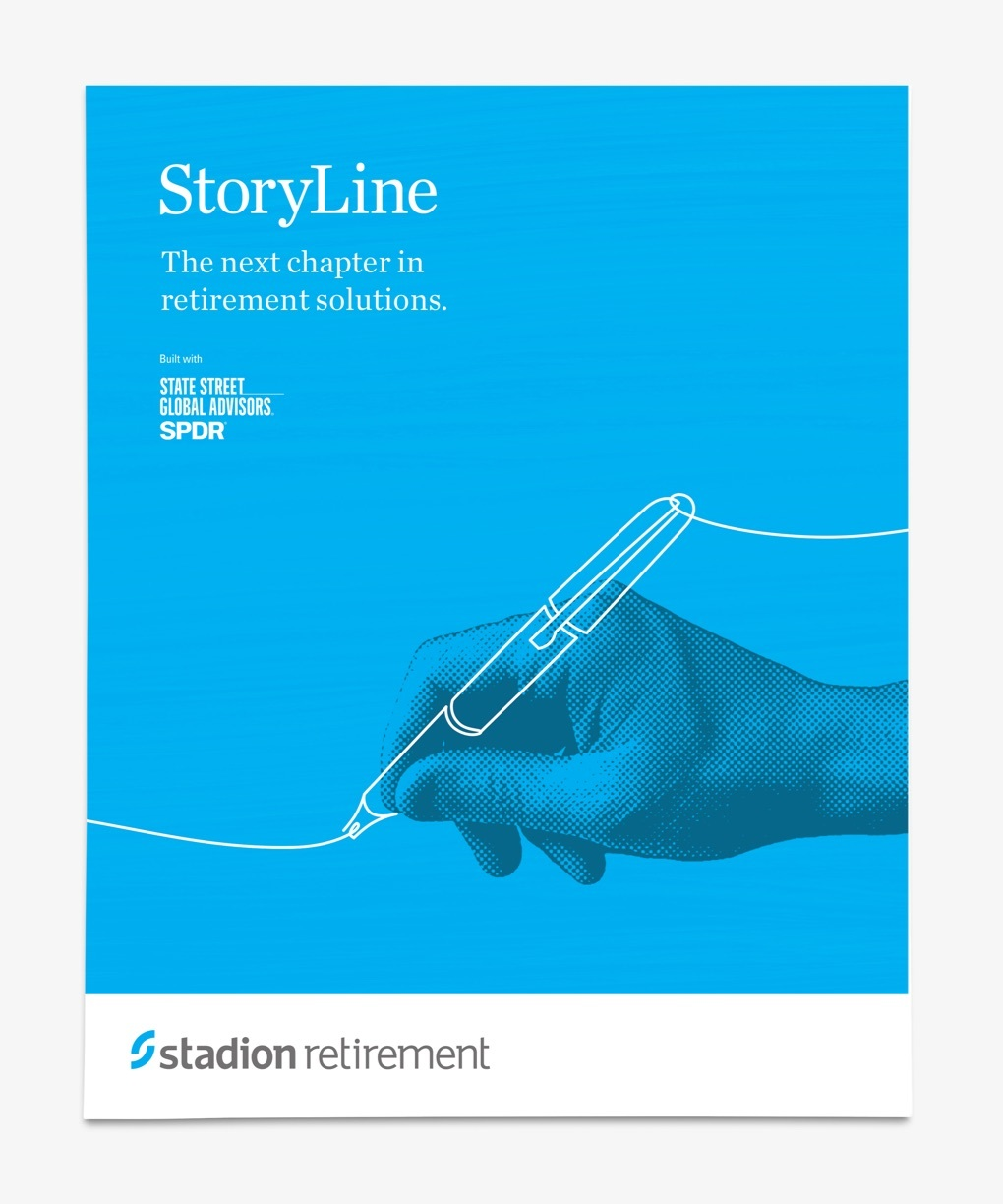 """Blue brochure cover reads """"The next chapter in retirement solutions."""""""