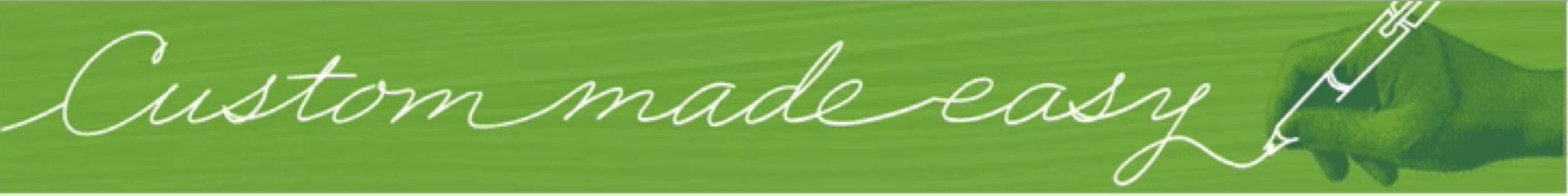 "Green banner ad reads ""Custom made easy."""