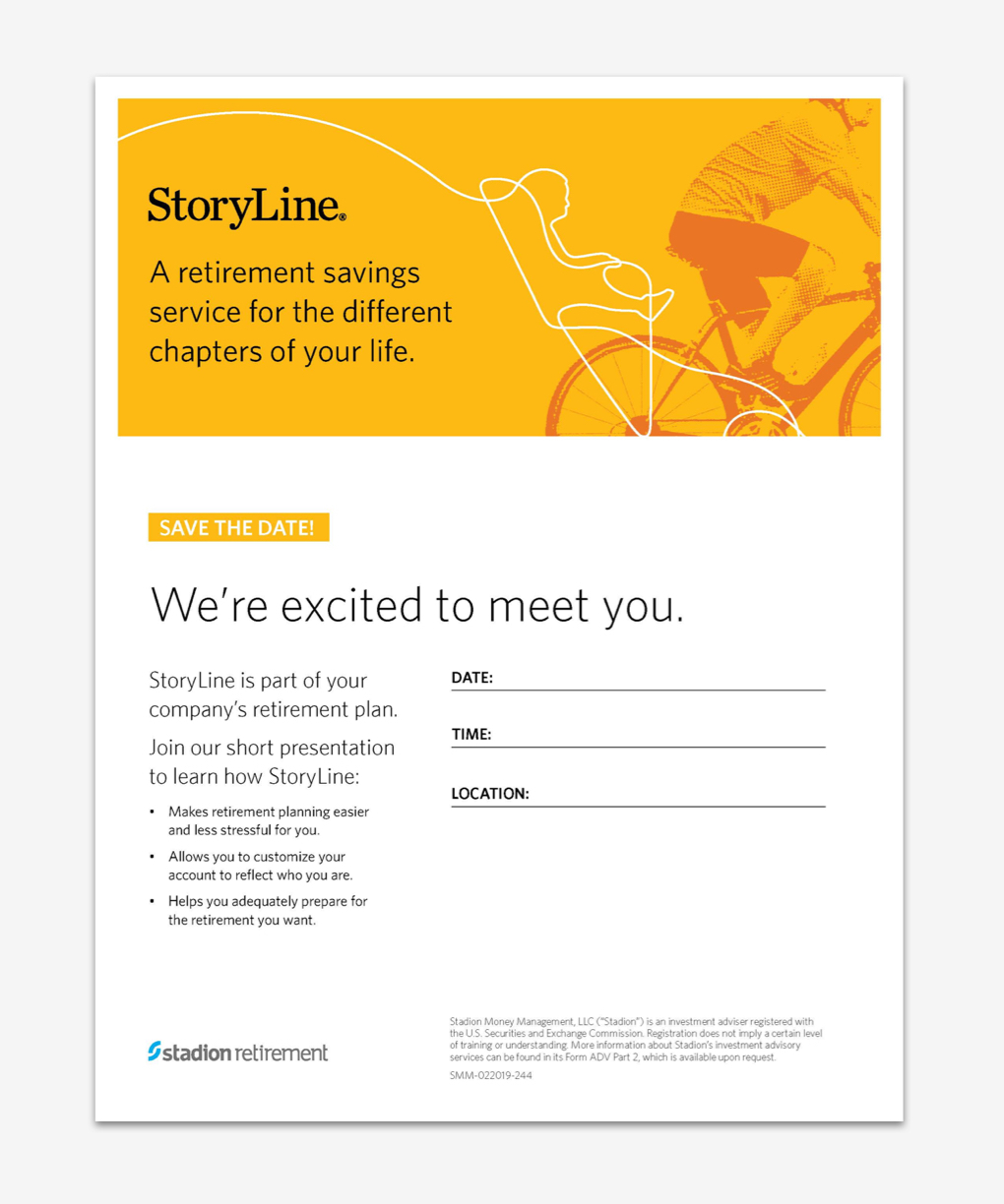 """Yellow enrollment flyer reads """"A retirement savings service for the different chapters of your life."""""""