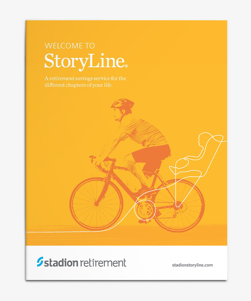 """Yellow enrollment folder with cyclist and headline """"Welcome to StoryLine."""""""