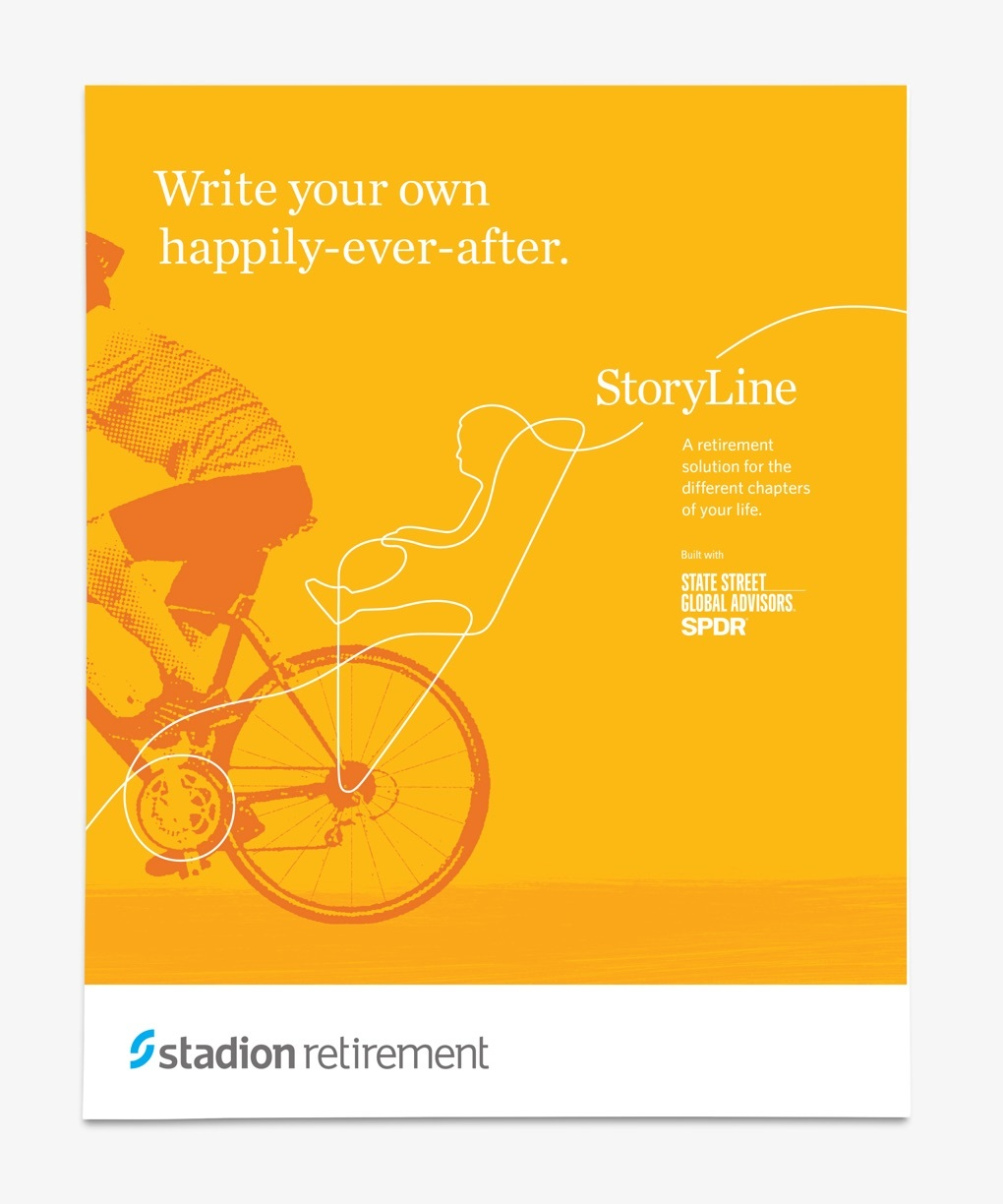 """Yellow brochure cover reads """"Write your own happily-ever-after."""""""