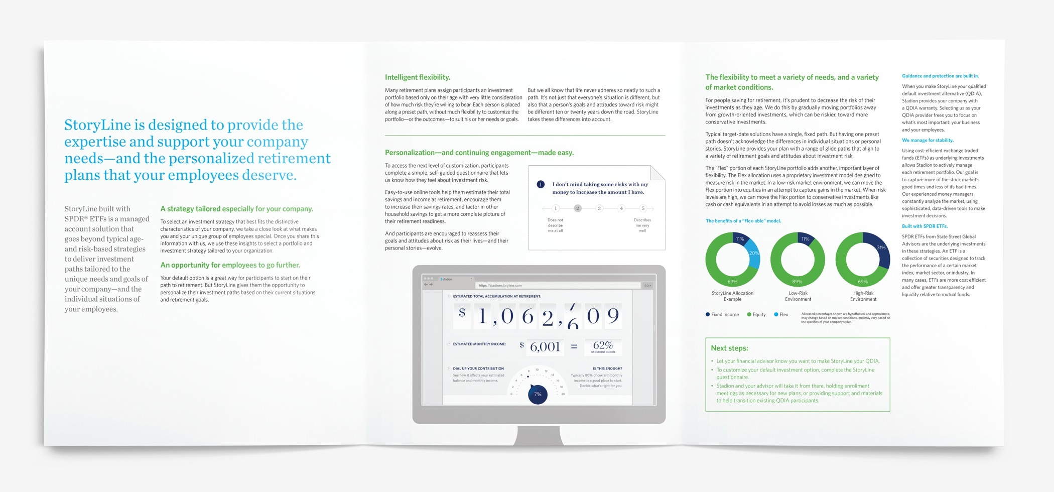 """Brochure reads """"StoryLine is designed to provide the expertise and support your company needs..."""""""