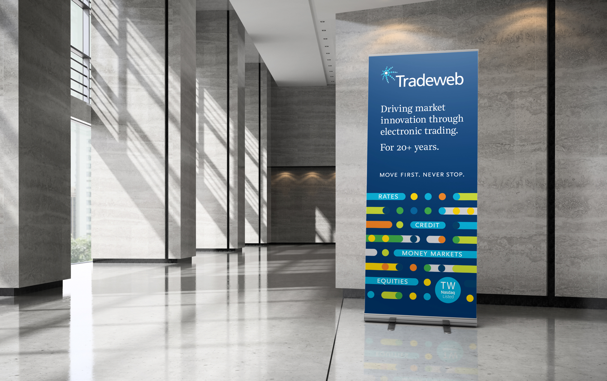 "A colorful Tradeweb lobby banner with text ""Driving markets innovation through electronic trading for 20 plus years."""