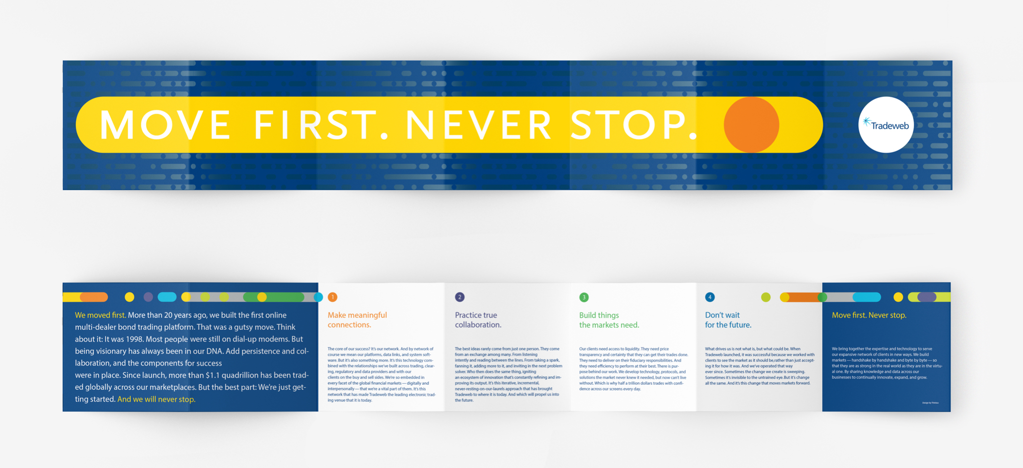 "Inside pages of the Tradeweb employee brand book with the text ""Move first. Never stop"" in large letters."