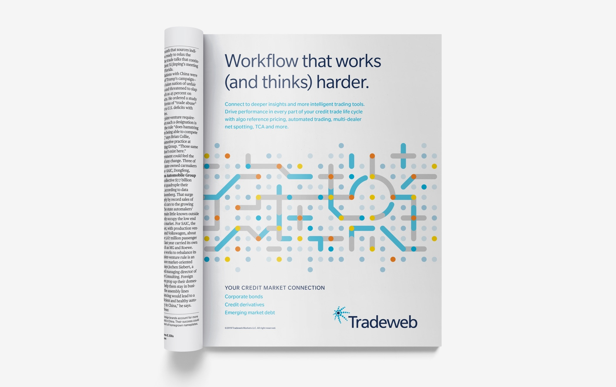 "Illustrated full page magazine ad with the headline, ""Workflow that works (and thinks) harder,"" and additional text."
