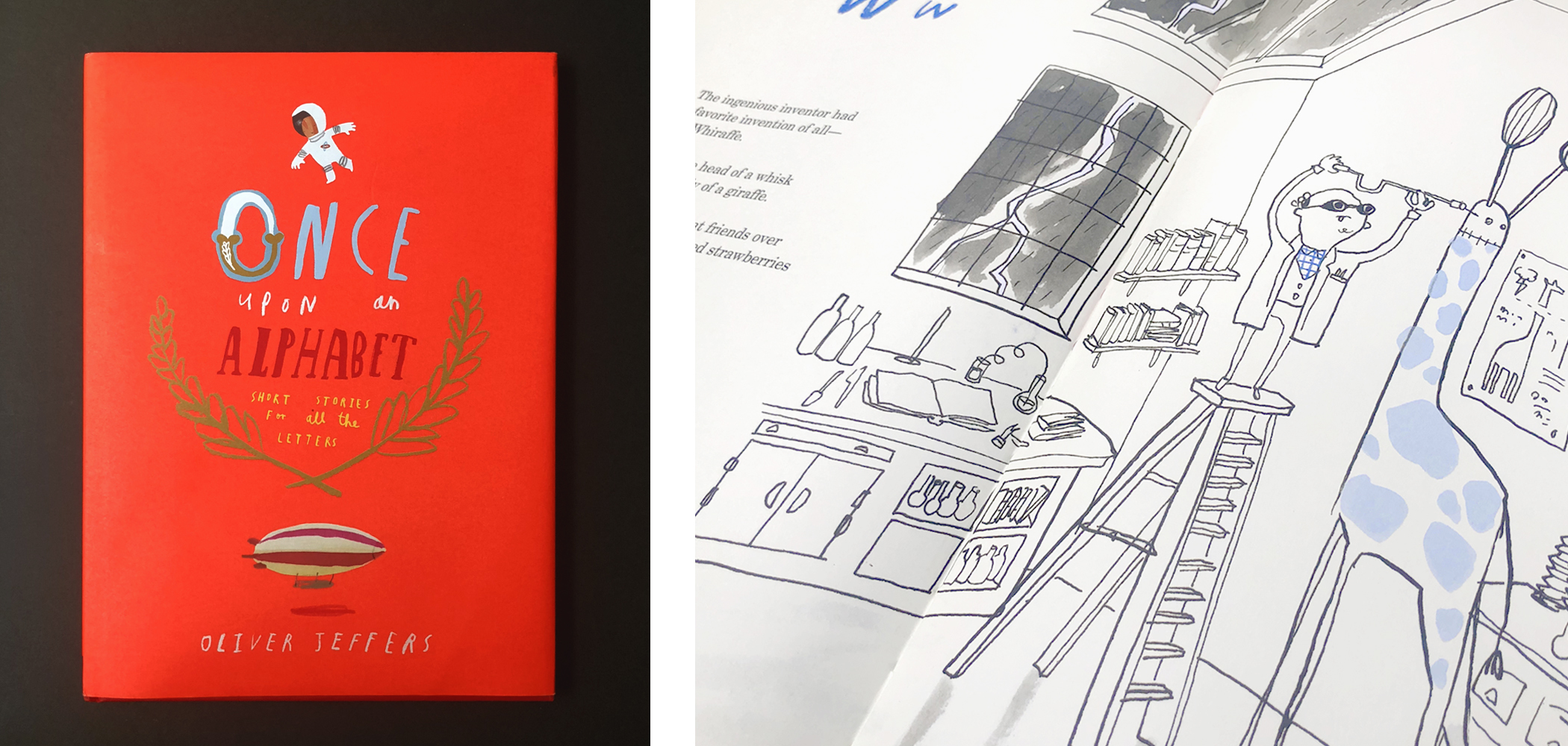 """Front cover and two-page spread of  """"Once Upon an Alphabet"""" by Oliver Jeffers."""
