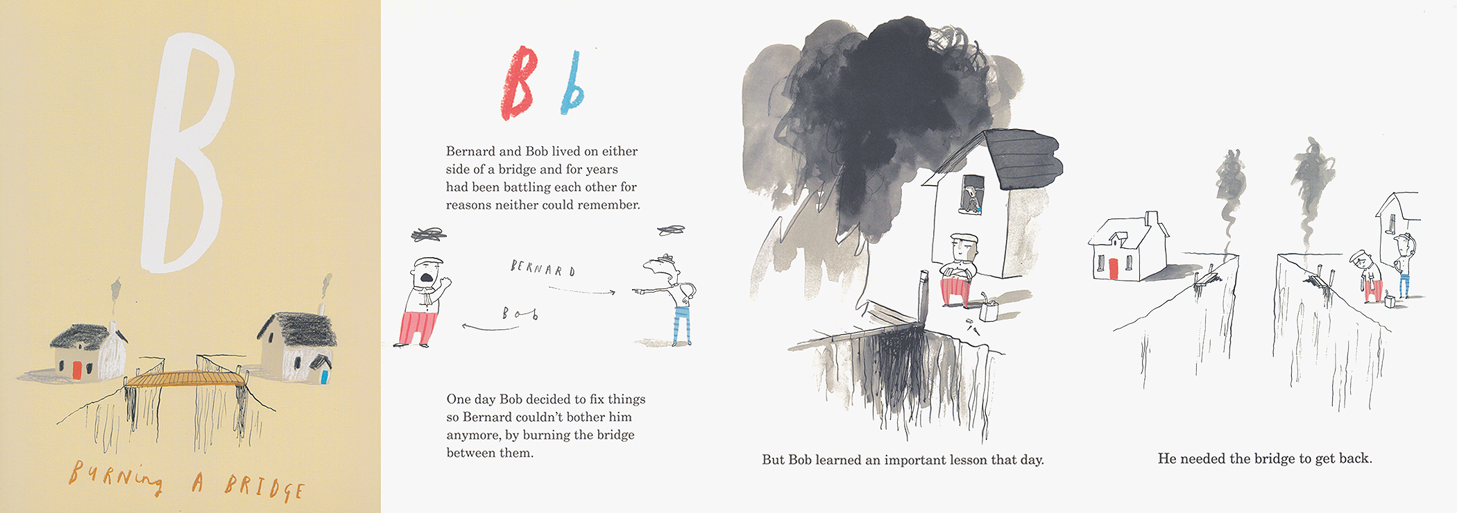 """4-page spread about the letter B from """"Once Upon an Alphabet"""" by Oliver Jeffers."""