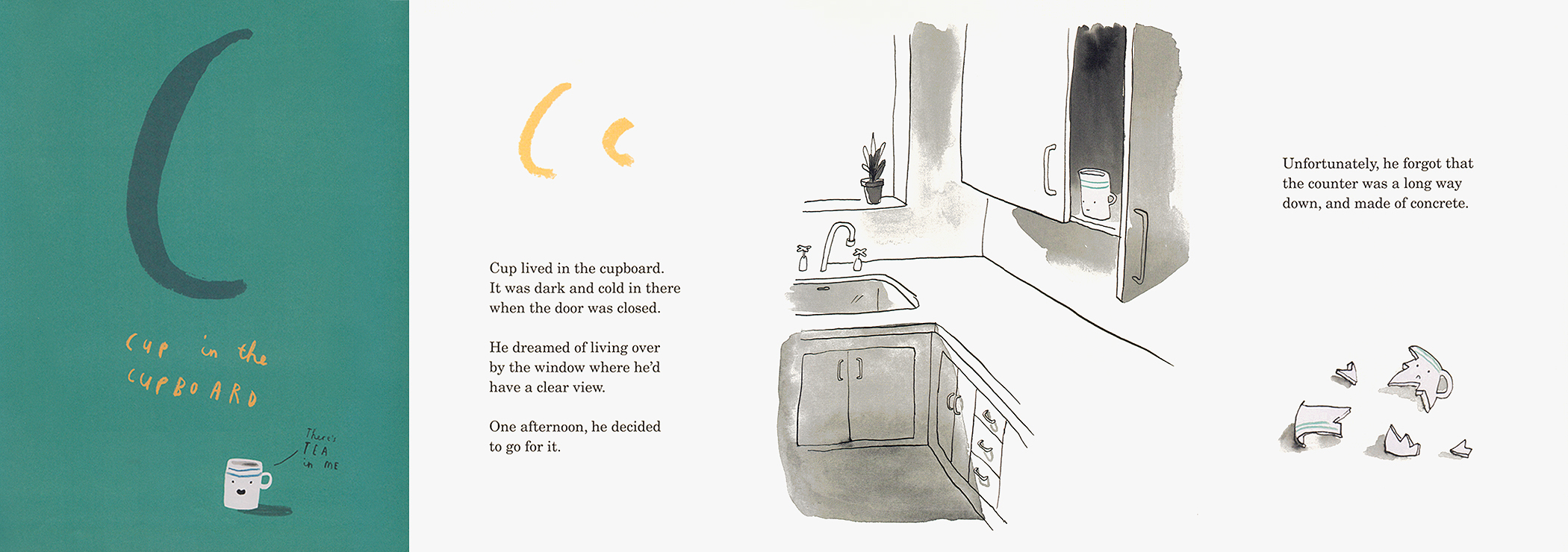 """4-page spread about the letter C from """"Once Upon an Alphabet"""" by Oliver Jeffers."""