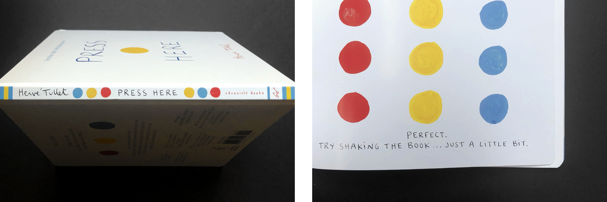 """Side view of cover and page from """"Press Here"""" by Hervé Tullet."""