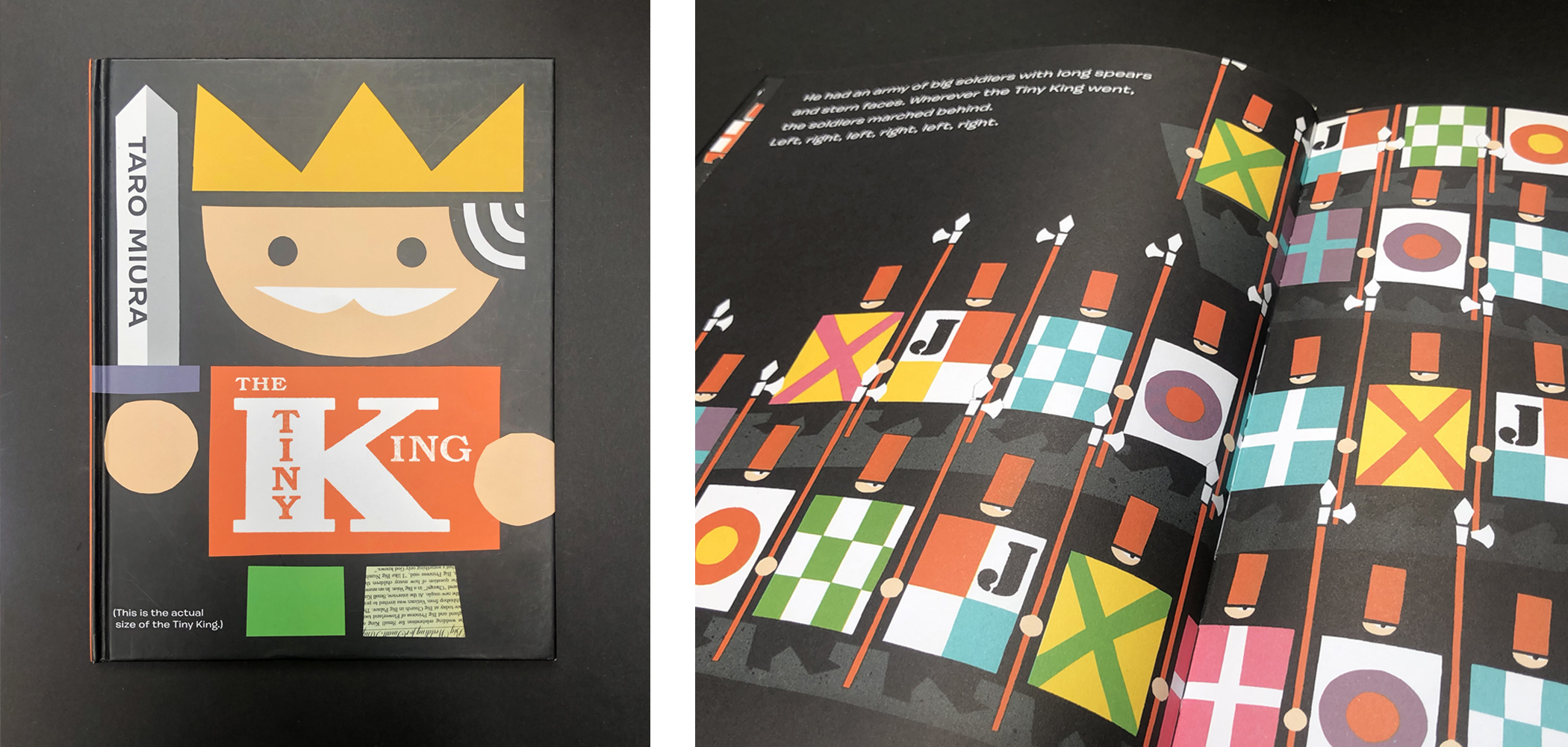 """Front cover and two-page spread of """"The Tiny King"""" by Taro Muira."""