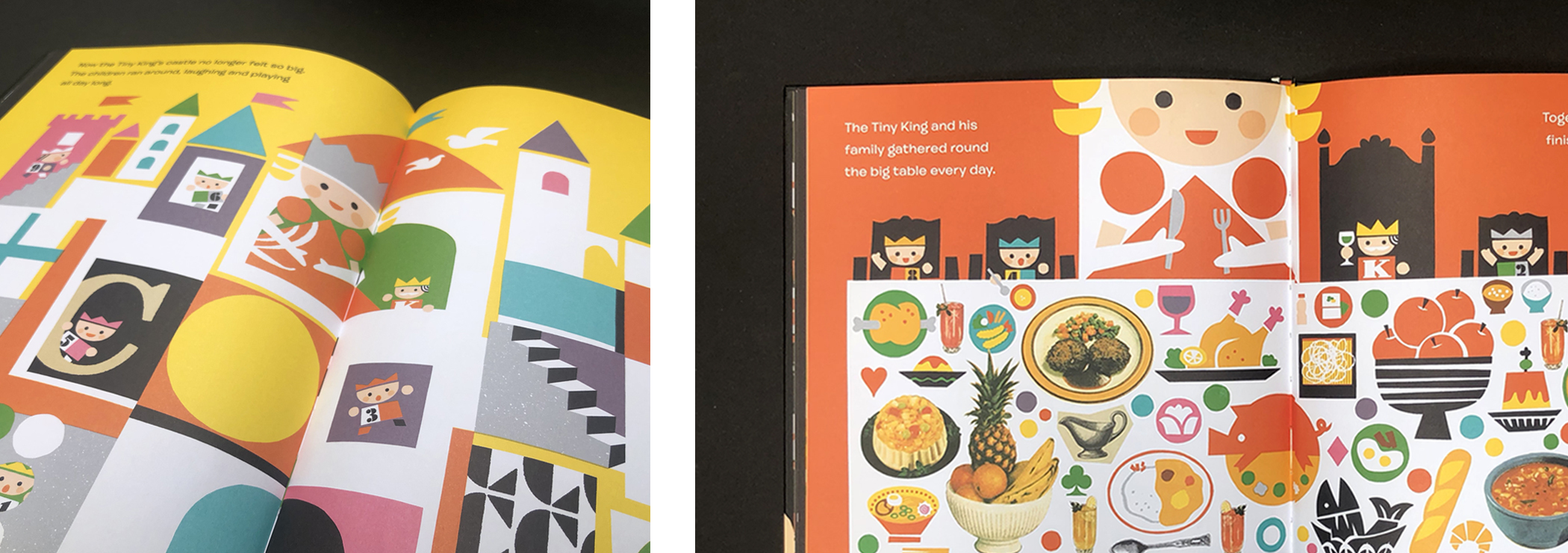 """Two sets of two-page spreads of """"The Tiny King"""" by Taro Muira."""