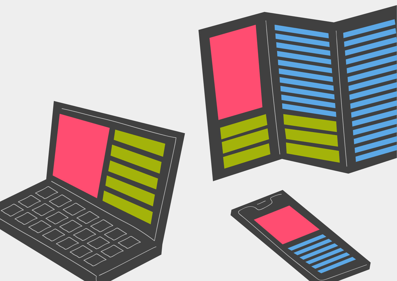 Laptop, brochure, and mobile device each display the same structured content.