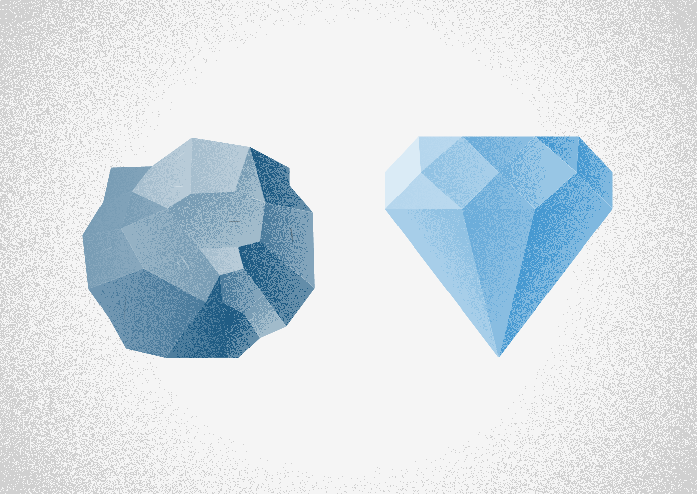 Two diamonds juxtaposed–one uncut and one refined.