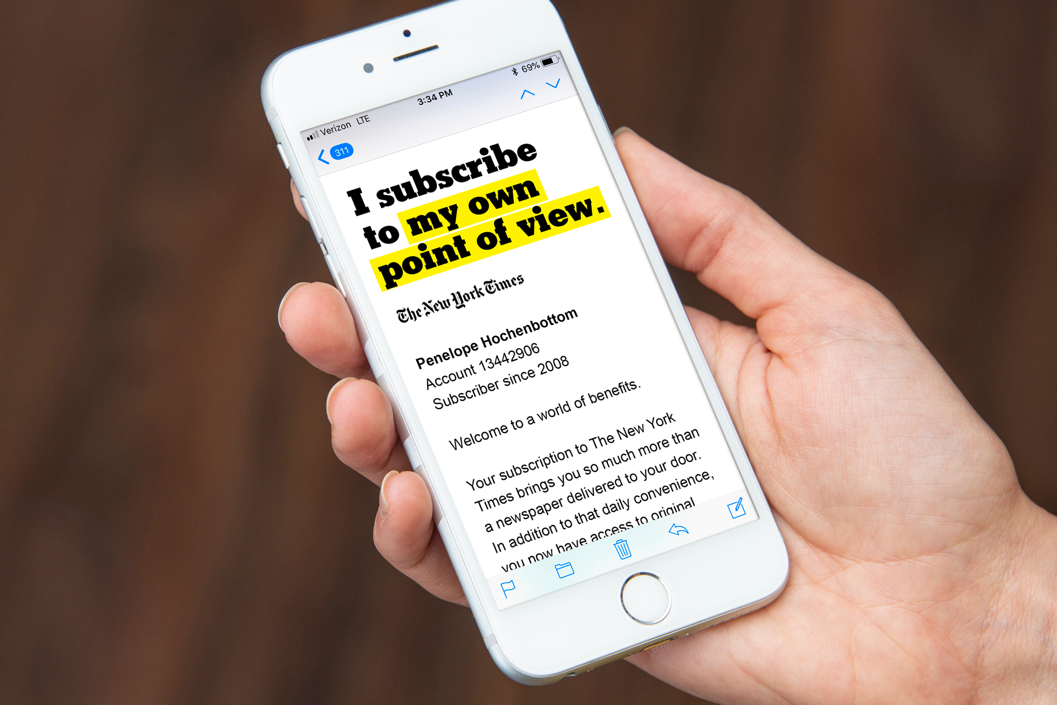 "A New York Times promotional email with the headline ""I subscribe to my own point of view"" displayed on a smartphone."