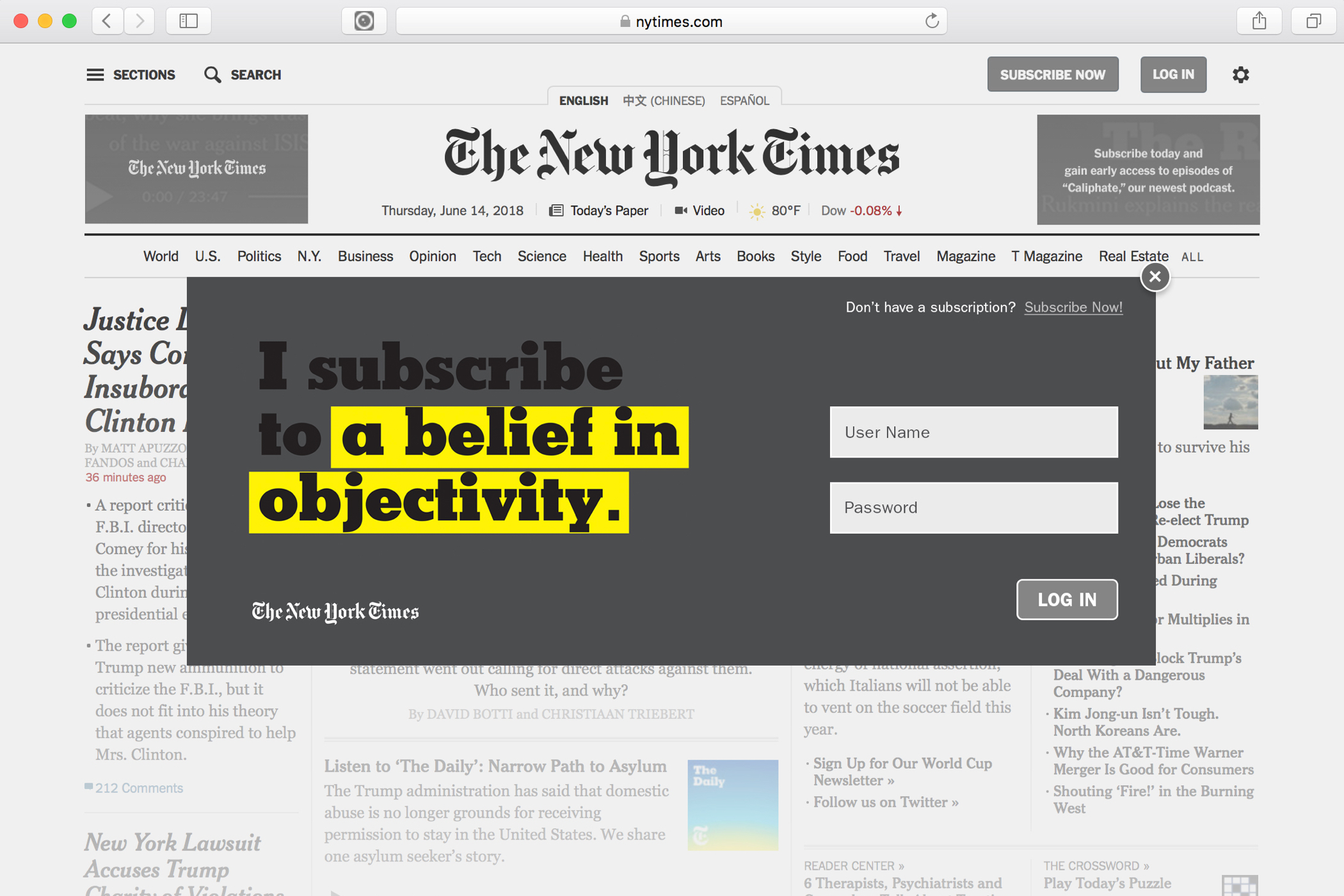 "A New York Times website login popup with the text, ""I subscribe to a belief in objectivity."""