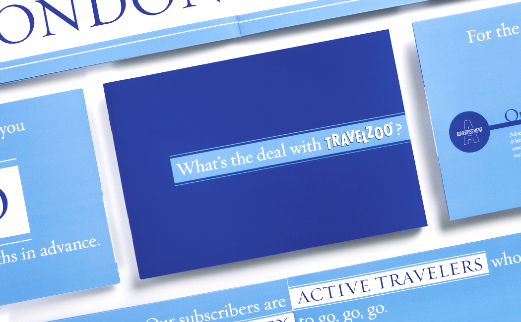 """Examples of Travelzoo direct mailers, featuring the logo and tagline, """"What's the deal with Travelzoo?"""""""