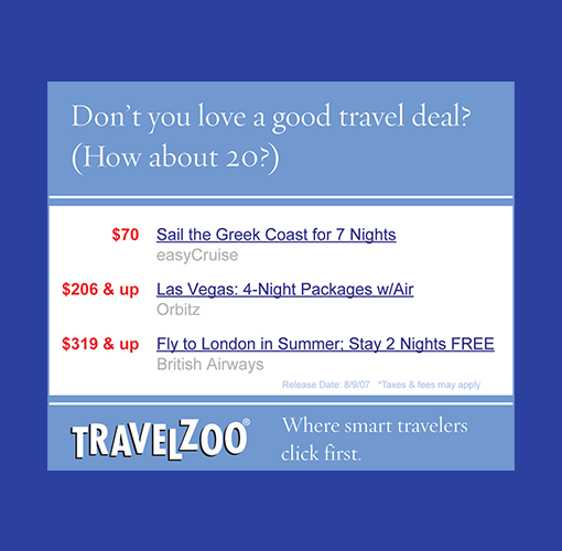 """A Travelzoo digital ad with the headline, """"Don't you love a good deal? How about 20?"""""""
