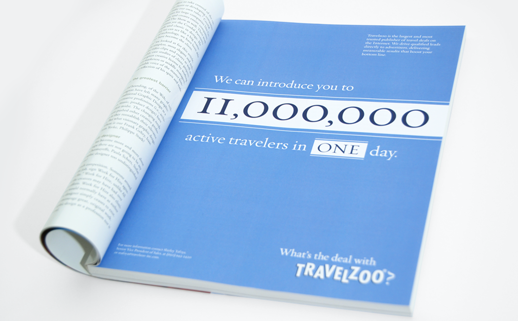 """A Travelzoo trade magazine ad with the text, """"We can introduce you to 11 million active travelers in one day."""""""