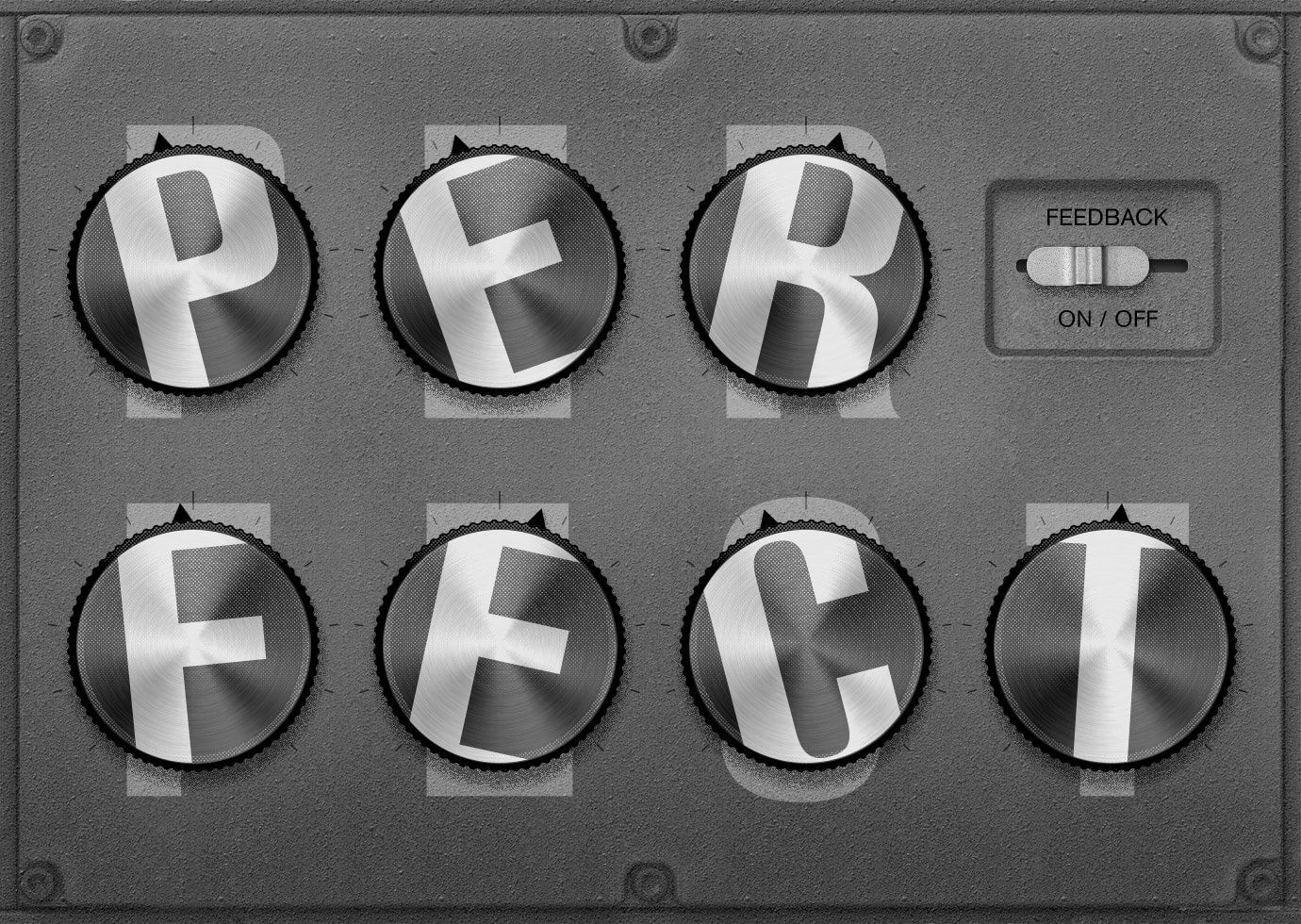 A fanciful electronic machine with dials that spell out the word perfect, with each dial a little off center.