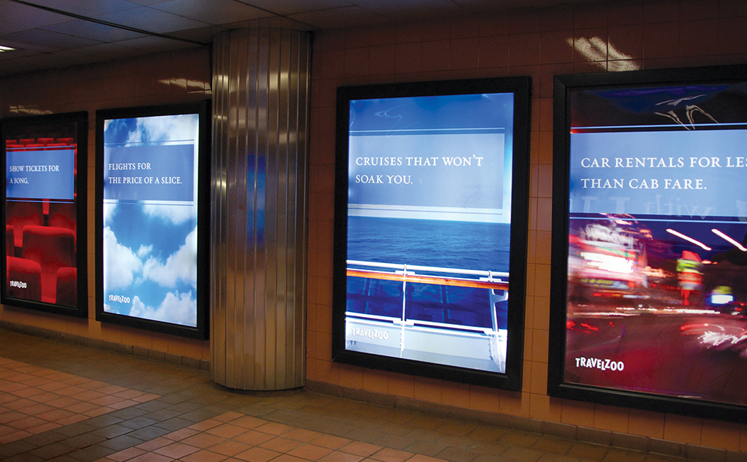 """Travelzoo New York CIty subway advertising posters with catchy slogans, including """"Car rentals for less than cab fare."""""""