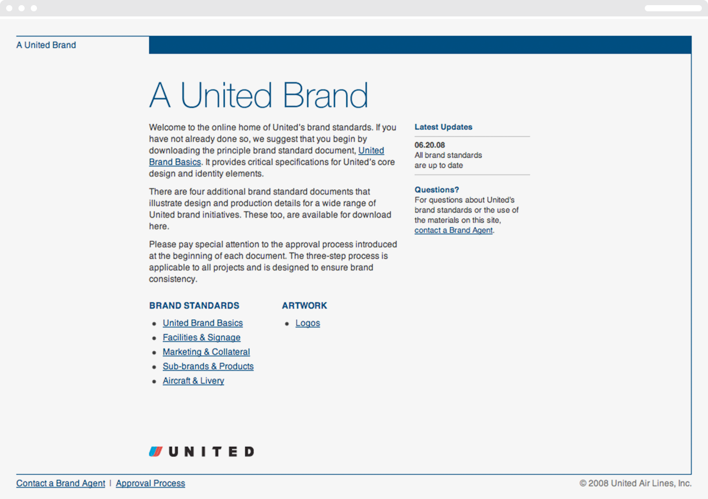 Homepage for the United Airlines brand standards web portal.