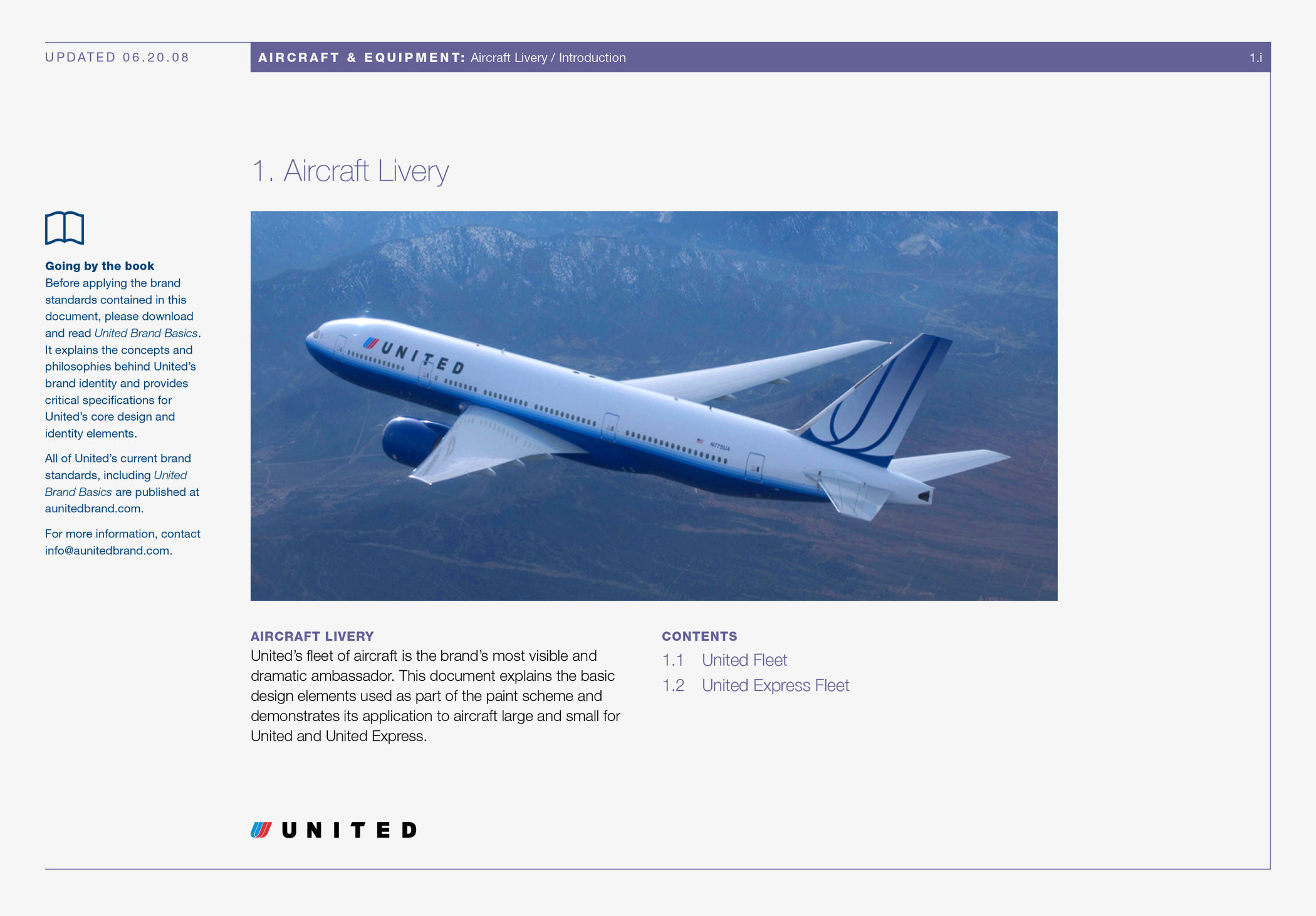 """Cover of the """"Aircraft Livery"""" section of the Aircraft and Equipment volume of United Airlines brand standards."""