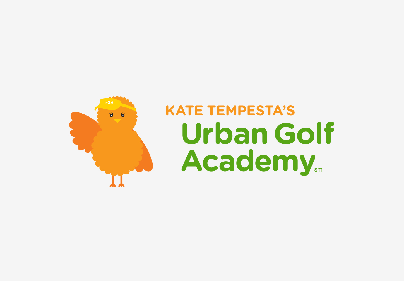 """Kate Tempesta's Urban Golf Academy's logo, and the orange """"birdie"""" brand symbol and mascot waving a wing."""