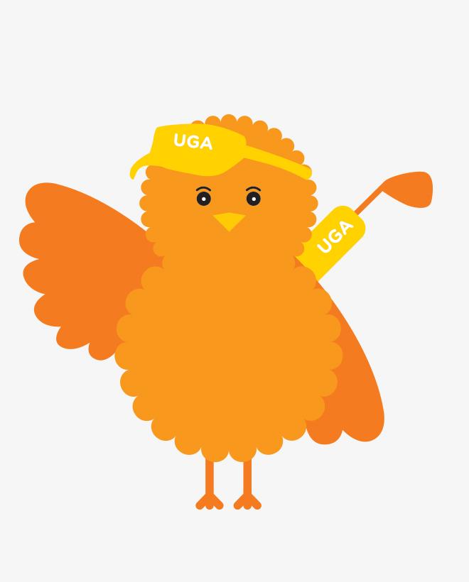 Birdie, the illustrated orange Urban Golf Academy mascot, carrying a golf bag.
