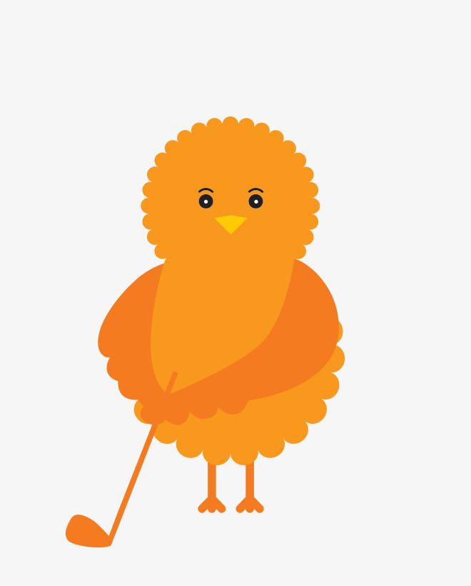 Birdie, the illustrated orange Urban Golf Academy mascot, getting ready to swing a golf club.
