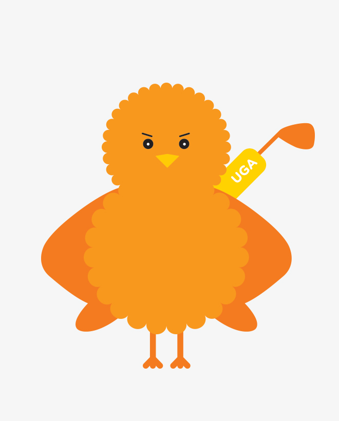 Birdie, the illustrated orange Urban Golf Academy mascot, carrying a golf bag with wings akimbo.