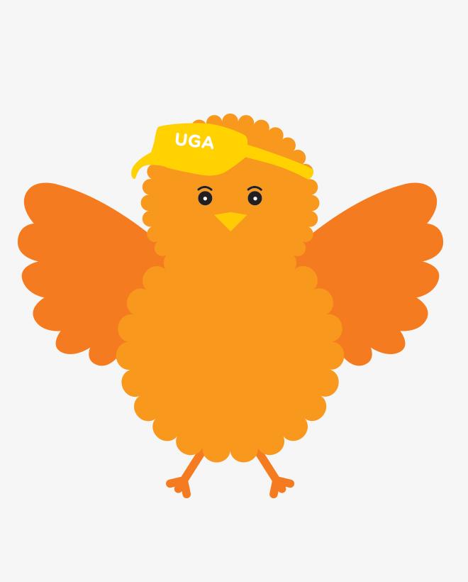 Birdie, the illustrated orange Urban Golf Academy mascot, wearing a UGA visor with wings held high.
