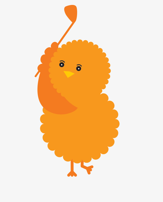 Birdie, the illustrated orange Urban Golf Academy mascot, with a golf club in the middle of a backswing.