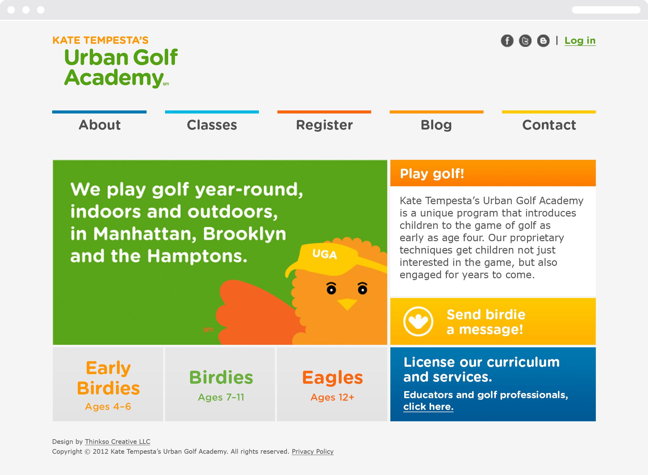 Kate Tempesta's Urban Golf Academy website homepage.