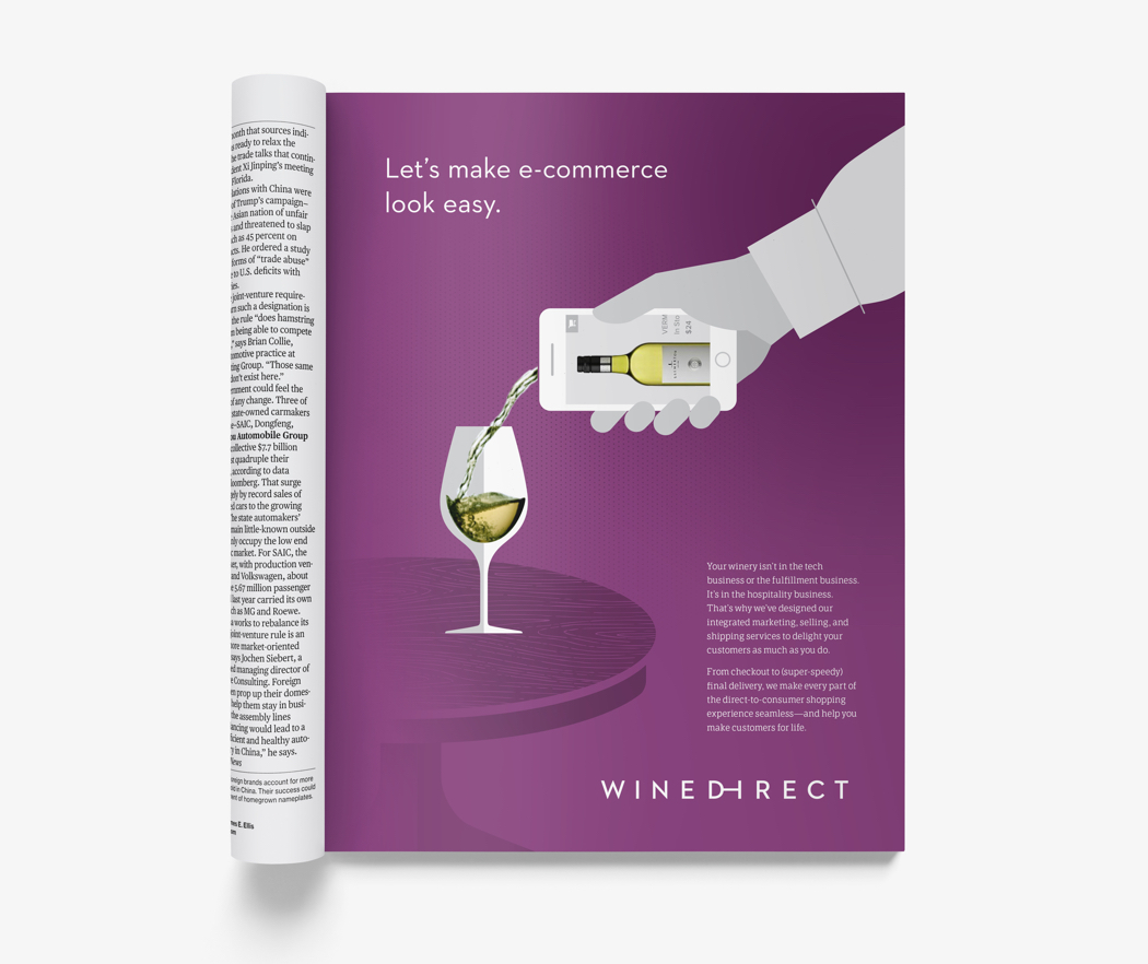 Wine Direct magazine ad with a hand holding a smartphone that appears to be pouring wine.