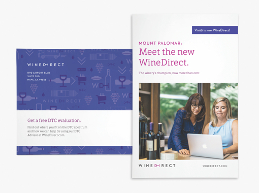 """""""Meet the new Wine Direct"""" mailer with an image of two wine merchants looking at laptop computer together."""