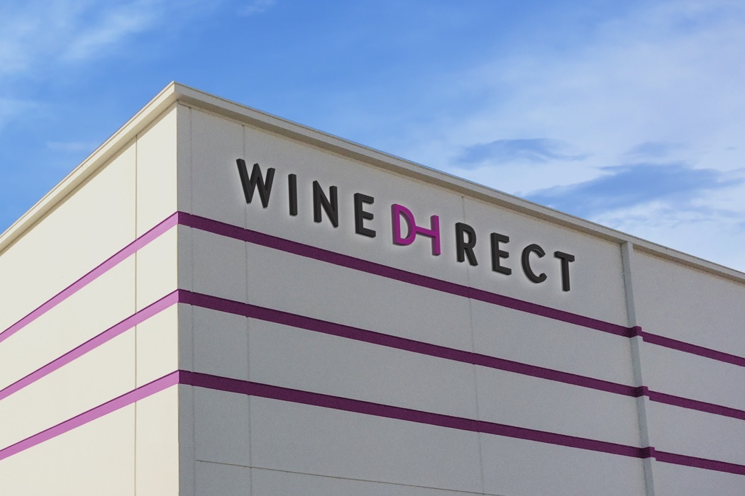 The Wine Direct logotype on the side of the company's headquarters building in Napa Valley, California.