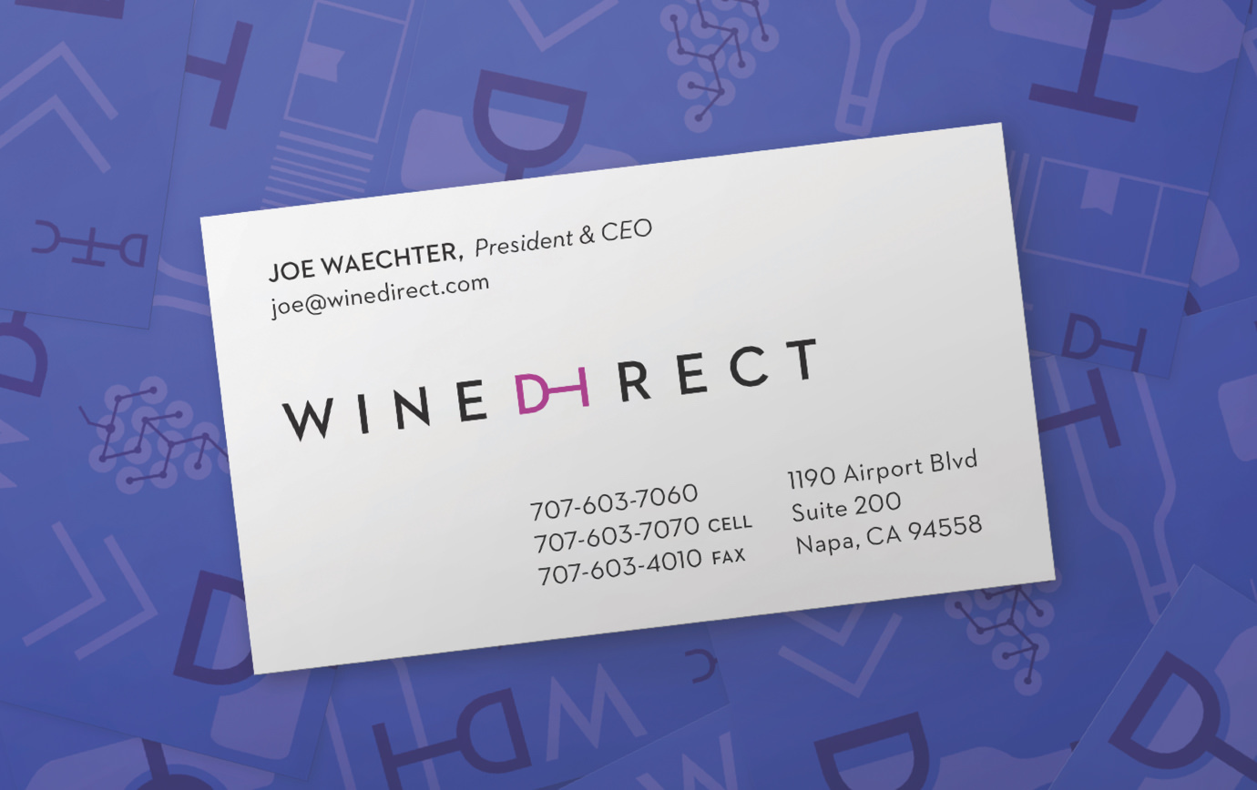WineDirect business card with President & CEO Joe Waechter's contact information on a purple backdrop of brand icons.