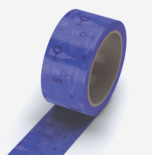 Customized packing tape decorated with the Wine Direct logo and brand illustrations.