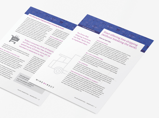 Two examples of Wine Direct's printed thought leadership materials.