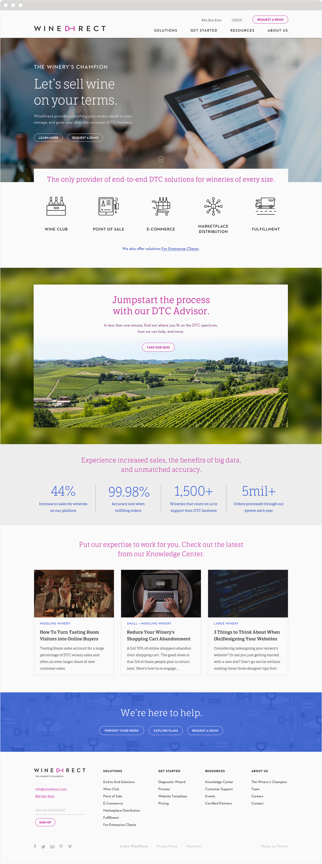 """WineDirect website featuring new tagline, """"The Winery's Champion,"""" and DTC Advisor wizard for selling wine directly to consumers."""