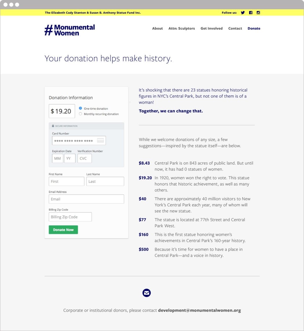 Design of donation page on the Monumental Women website.