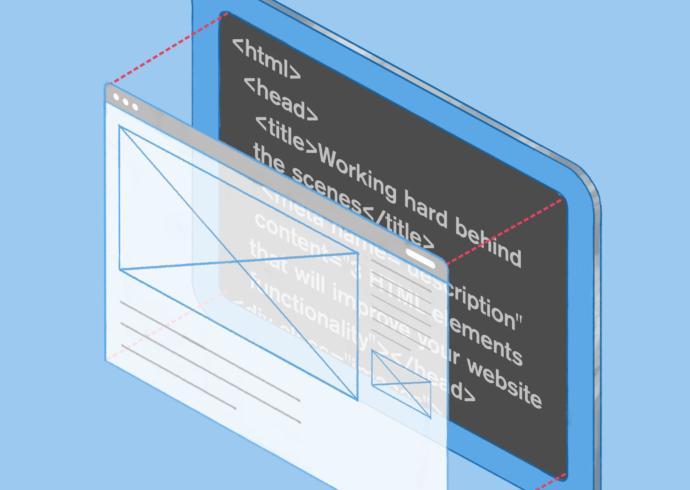 HTML code behind a computer screen.