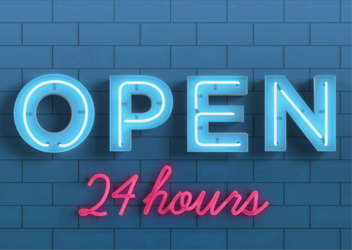 """Neon sign that reads """"Open 24 hours."""""""
