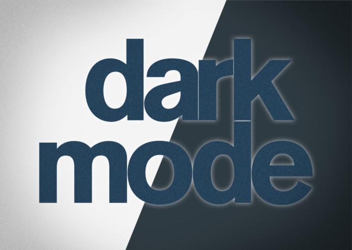 """Dark mode"" caption over black and white background."