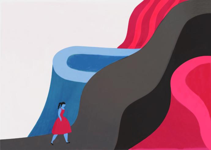 Woman walking through a fantastical mountainscape.