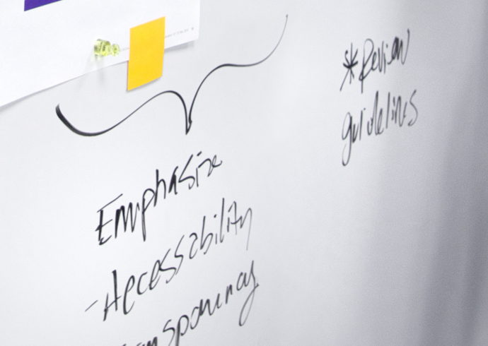A close up of words in handwritten script on a whiteboard.