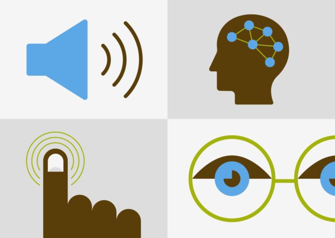 4 universal ADA web compliance symbols: megaphone, human cognition, finger touch, eyeglasses.